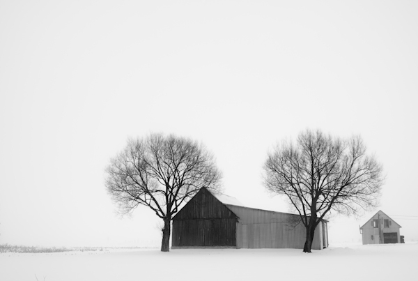 * Farm house in the winter fog